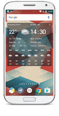 Live Wallpaper changes according to real-time weather conditions, showing you weather details by double-tapping it.